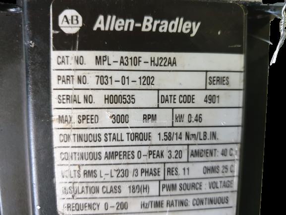 Moteur ALLEN BRADLEY MPL-A310F-HJ22AA